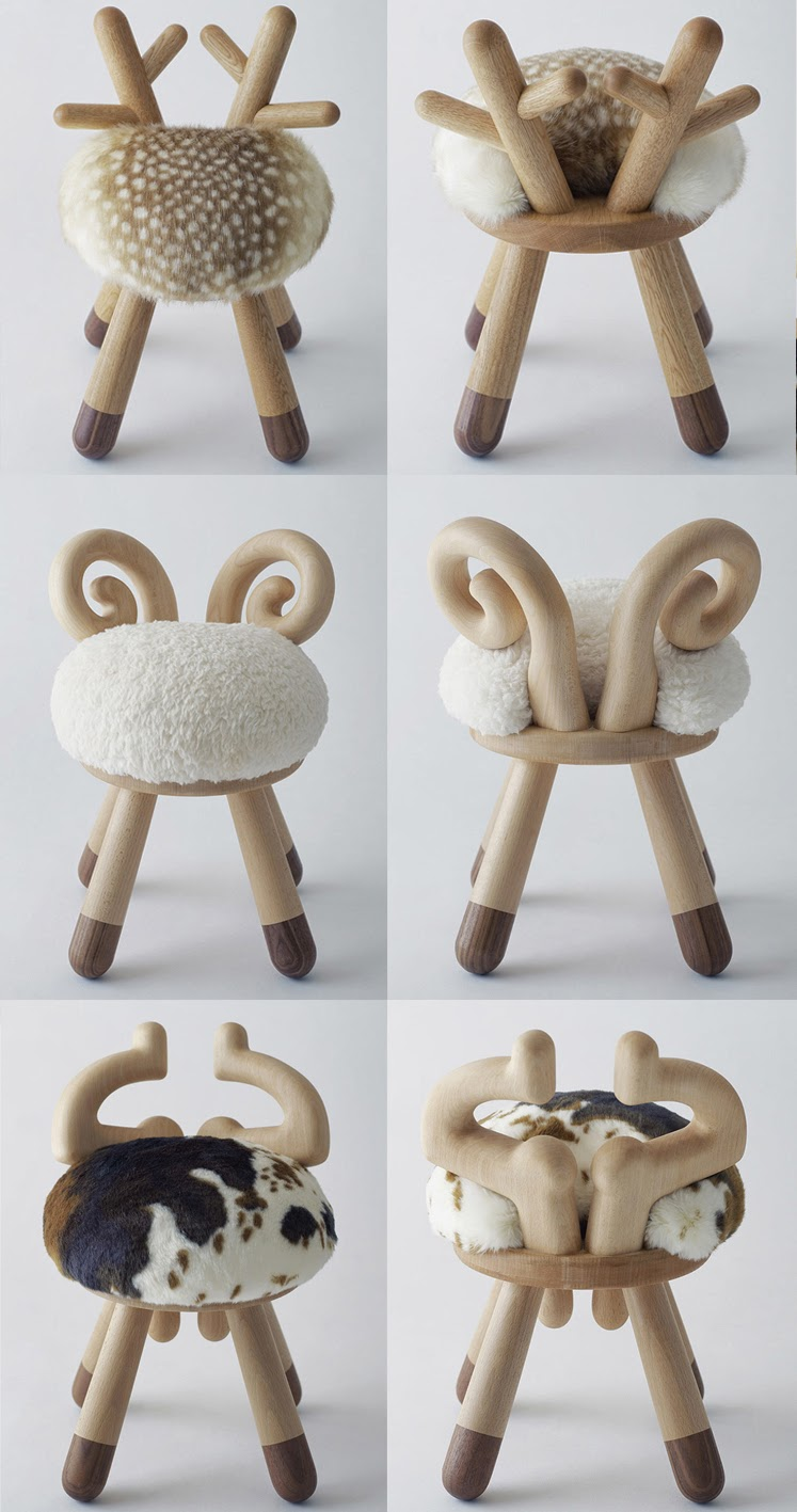 bambi chair, sheep chair, cow chair