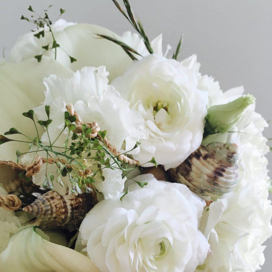 Mariage blanc et crème, coquillages et crustacés